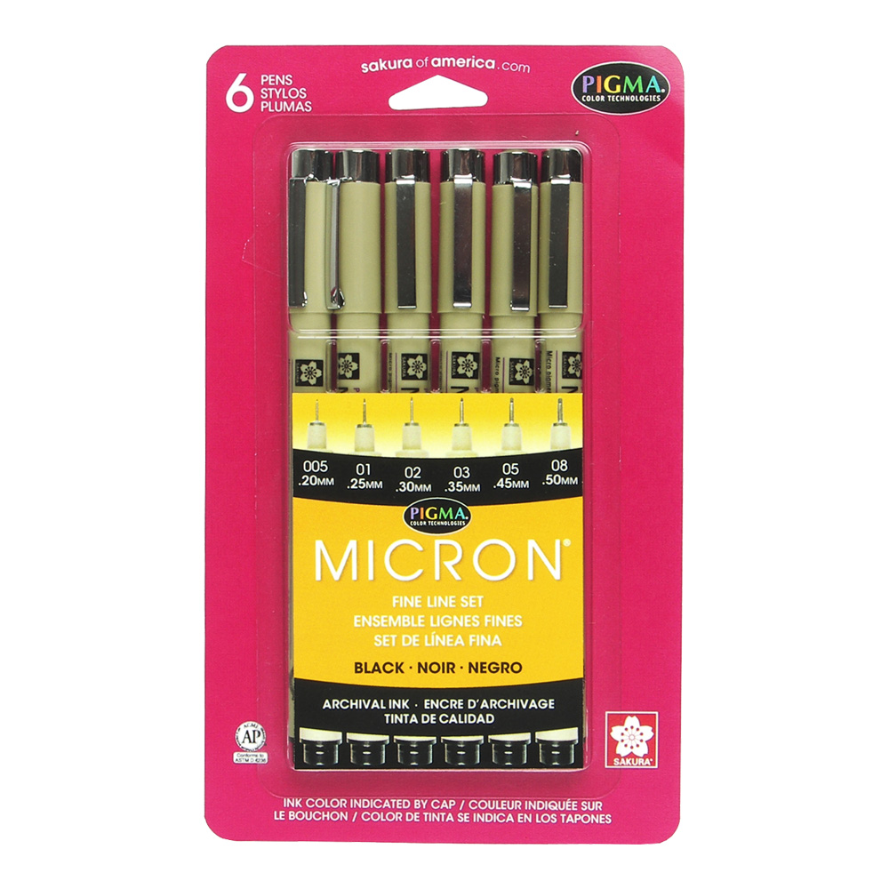 Pigma Micron Pen Set/6 Black Assort Sizes