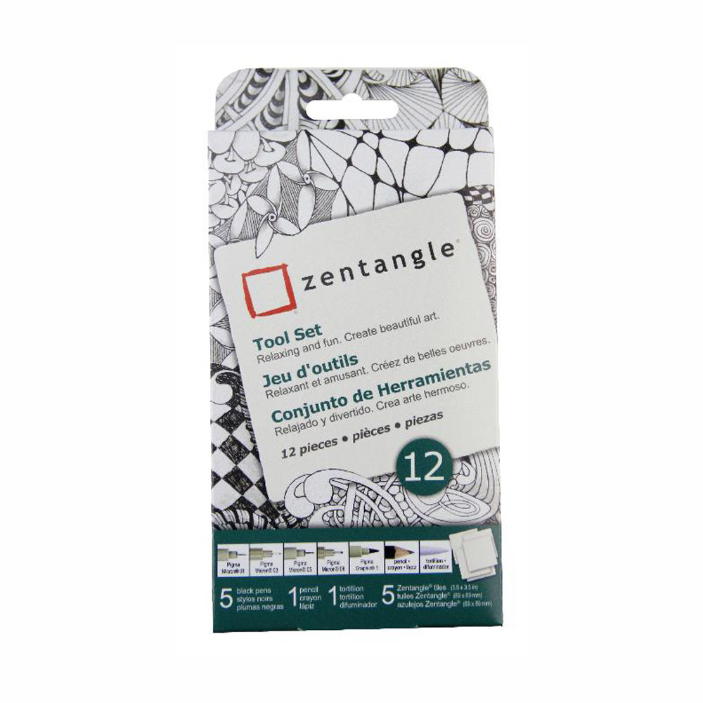 Zentangle White Original Tile Set 12 Pc