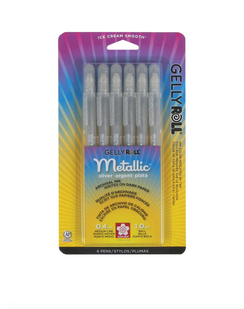 Bc Gelly Roll Metallic Silver 6 Pack
