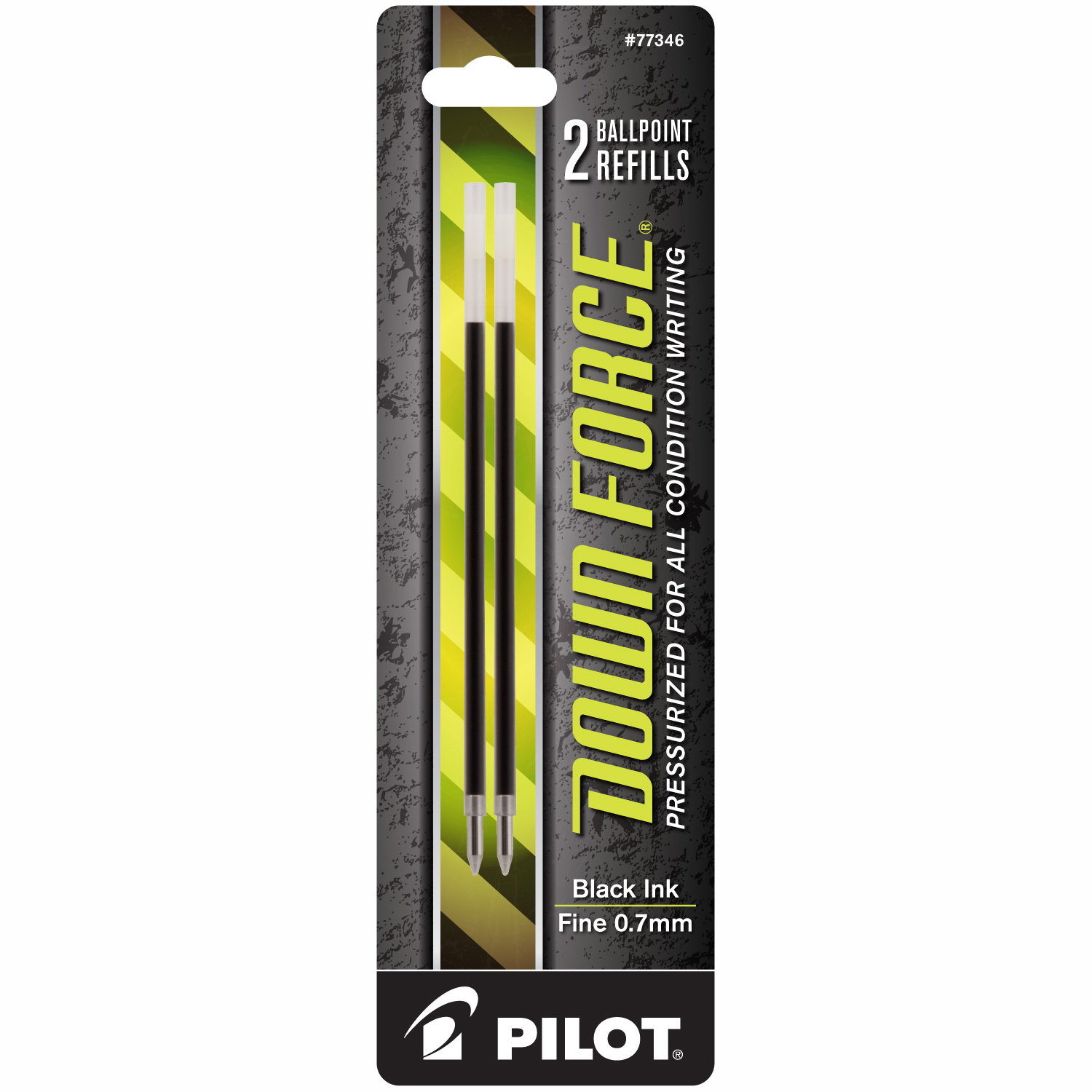 Pilot Down Force Ballpoint Pen Refill 2/Pk Bl