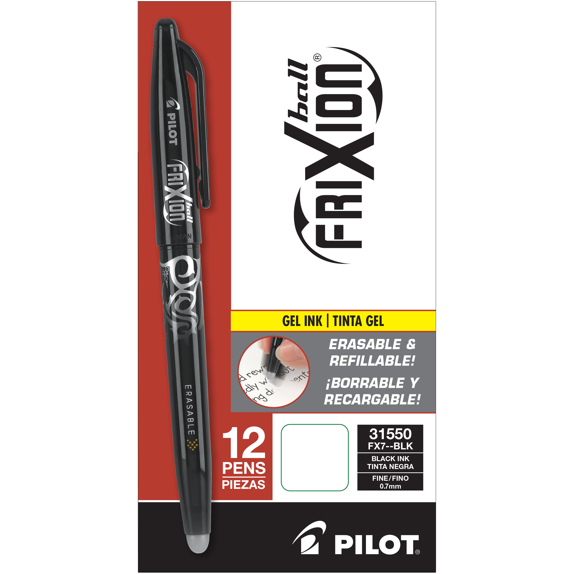 Pilot Frixion Erasable Gel Pen Black