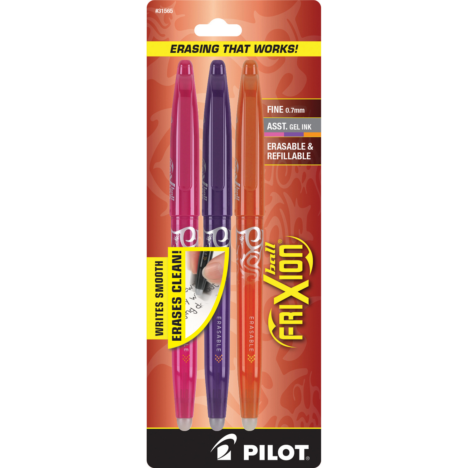Pilot Frixion Erasable Gel Pen Pink/Orn/Purpl