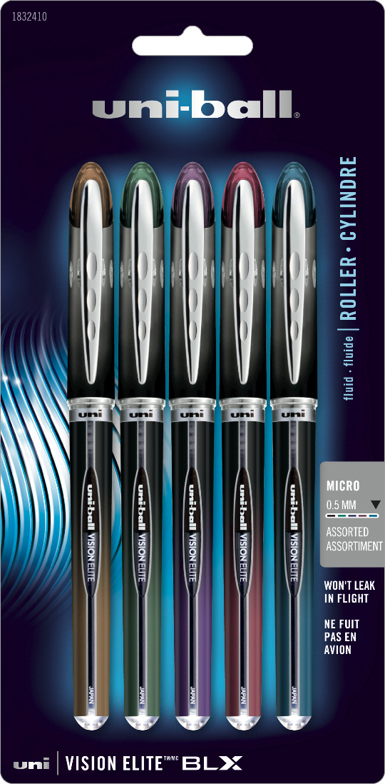 Uniball Vision Elite Blx Pen Set/5 Micro
