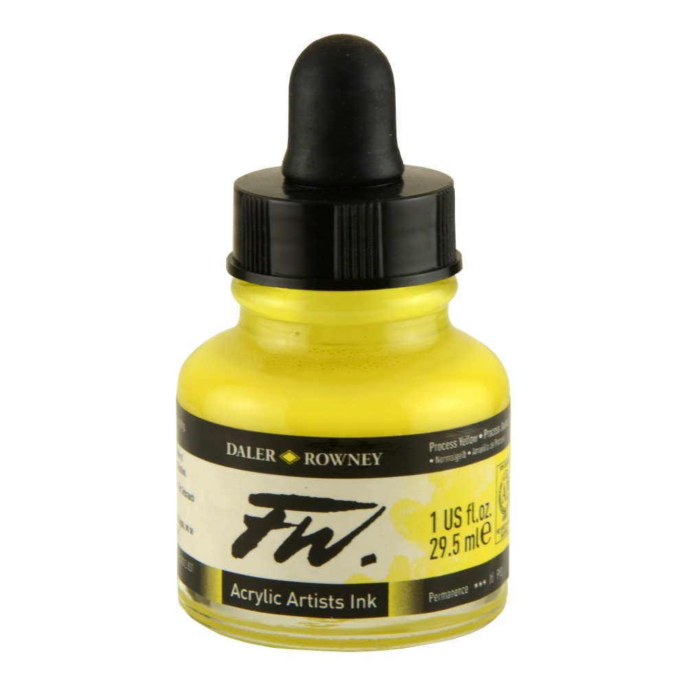 Fw Acrylic Artists Ink 6 Oz Process Yellow