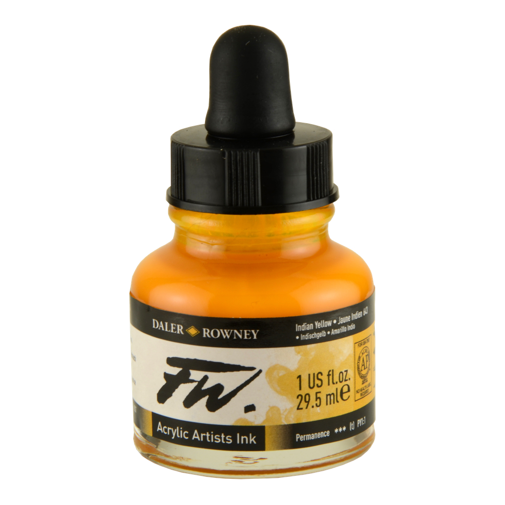 Fw Acrylic Artists Ink 1 Oz Indian Yellow
