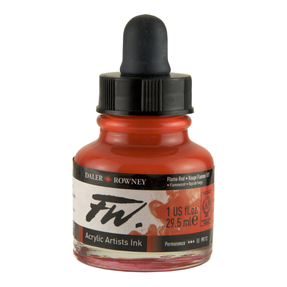 Fw Acrylic Artists Ink 1 Oz Flame Red