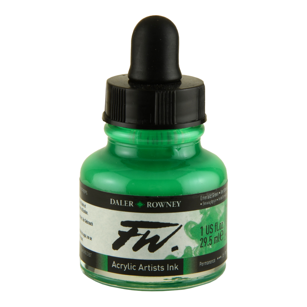 Fw Acrylic Artists Ink 1 Oz Emerald Green
