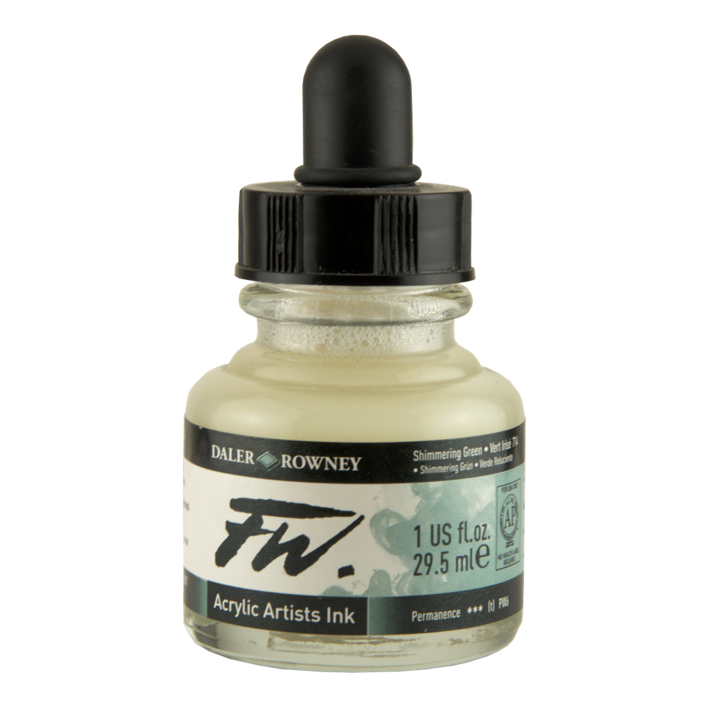 Fw Acrylic Artists Ink 1 Oz Shimmering Green