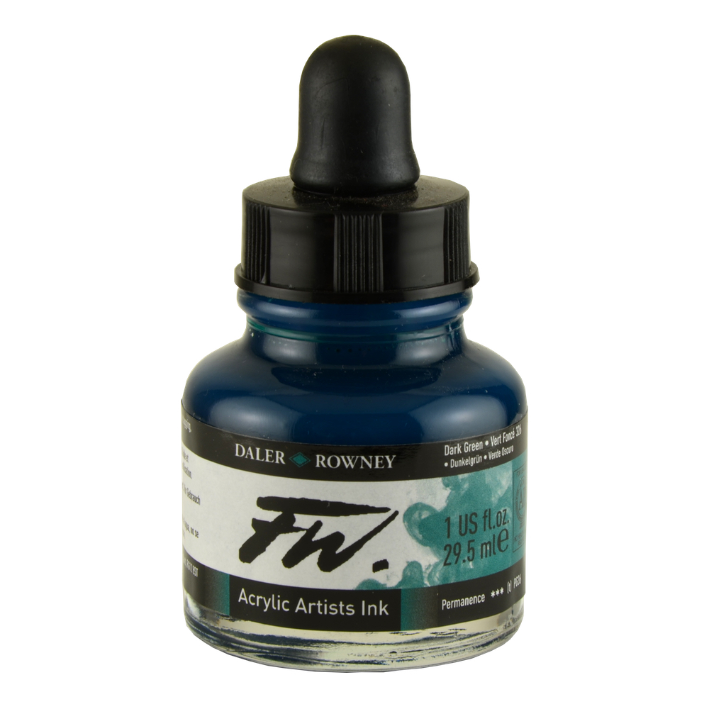 Fw Acrylic Artists Ink 1 Oz Dark Green