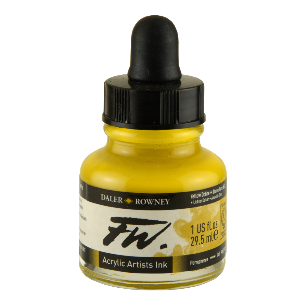 Fw Acrylic Artists Ink 1 Oz Yellow Ochre