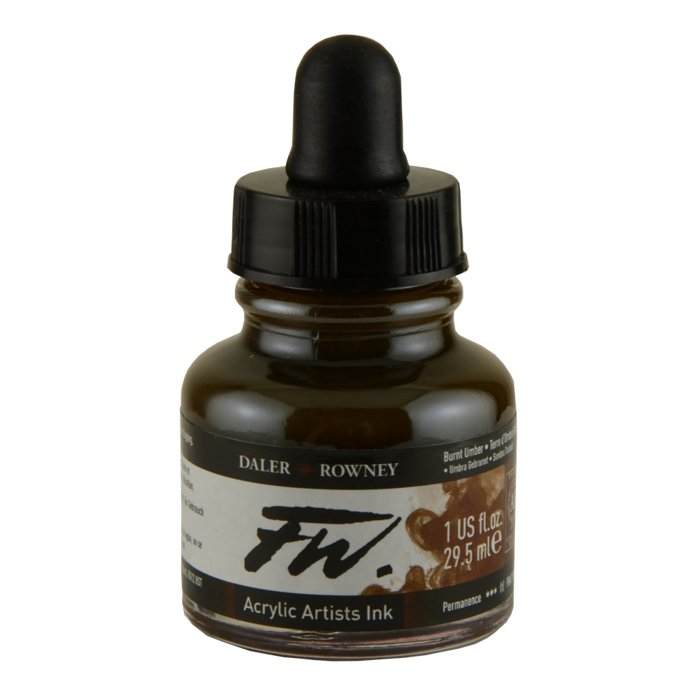 Fw Acrylic Artists Ink 6 Oz Burnt Umber