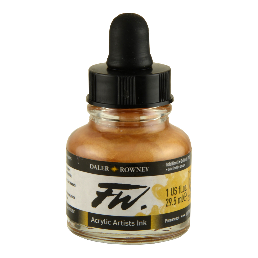 Fw Acrylic Artists Ink 1 Oz Imitation Gold