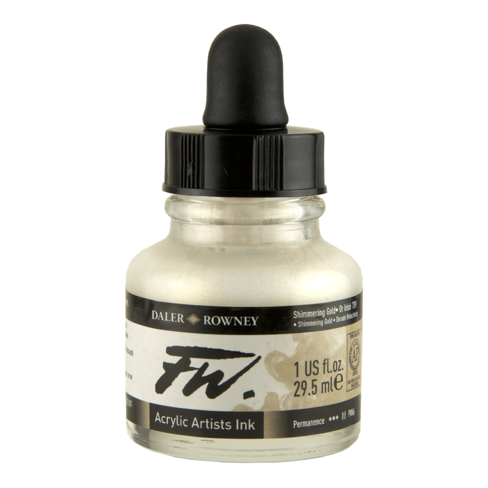 Fw Acrylic Artists Ink 1 Oz Shimmering Gold