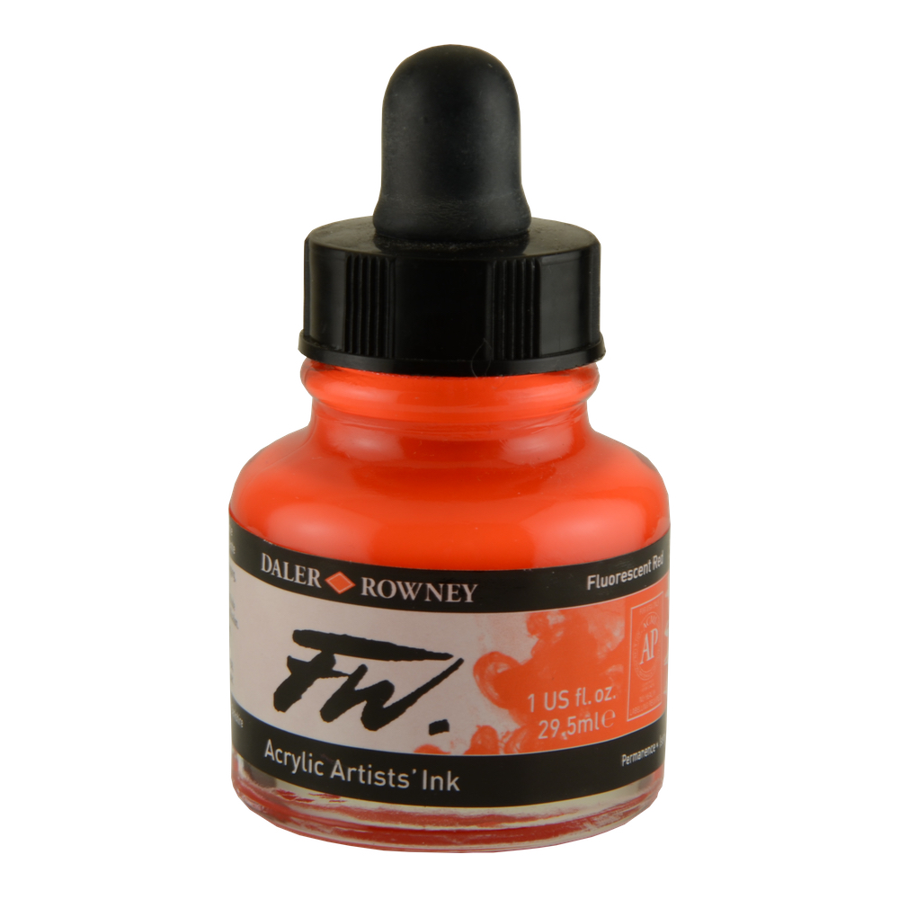 Fw Fluorescent Acryl Ink 1 Oz Red