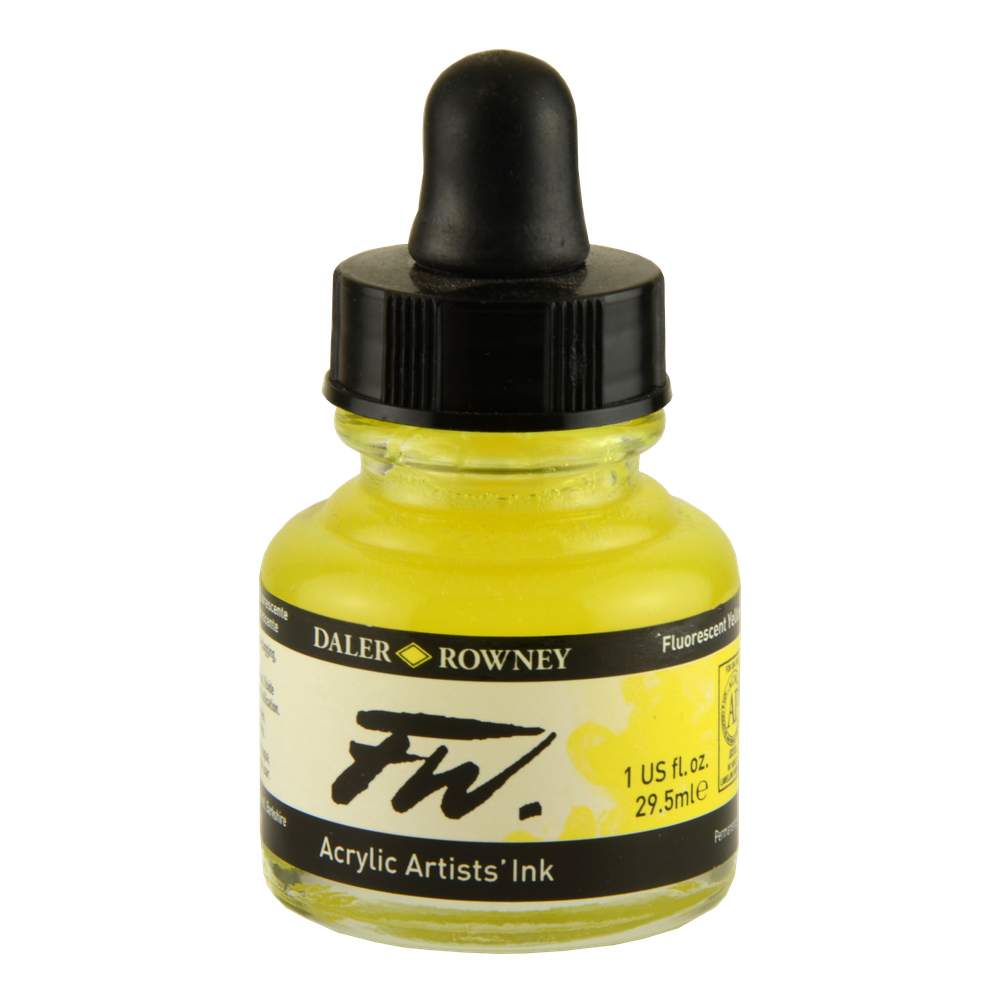 Fw Fluorescent Acryl Ink 1 Oz Yellow