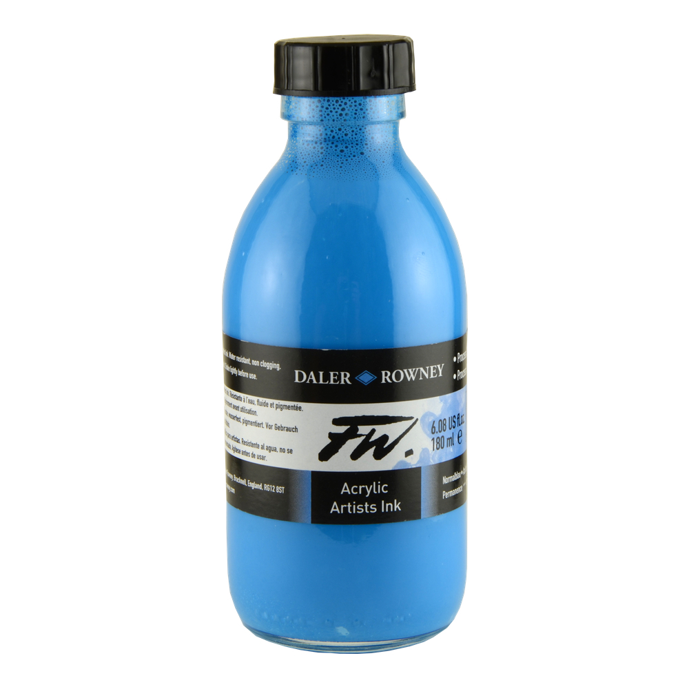 Fw Acrylic Artists Ink 6 Oz Process Cyan