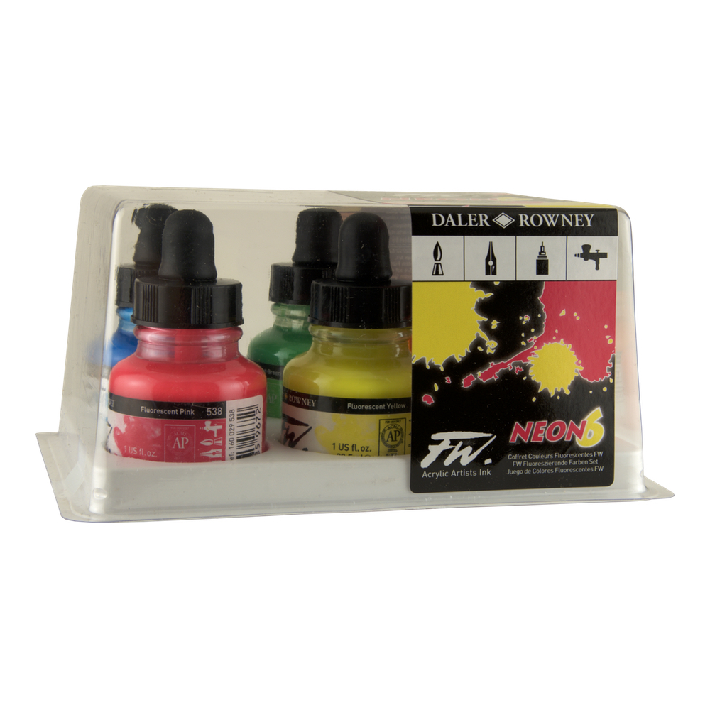 Fw Fluorescent Acryl Ink Neon 6 Set