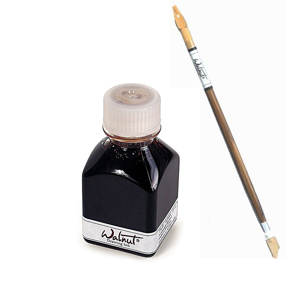 Walnut Drawing Ink 2.6 Oz And Stick Set
