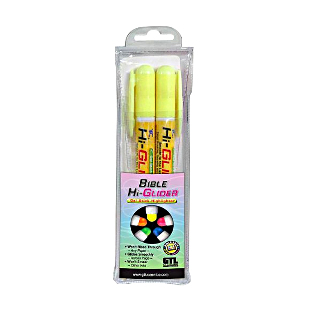 Hi-Glider Gel Stick Highlighter Set 2Pk Ylw
