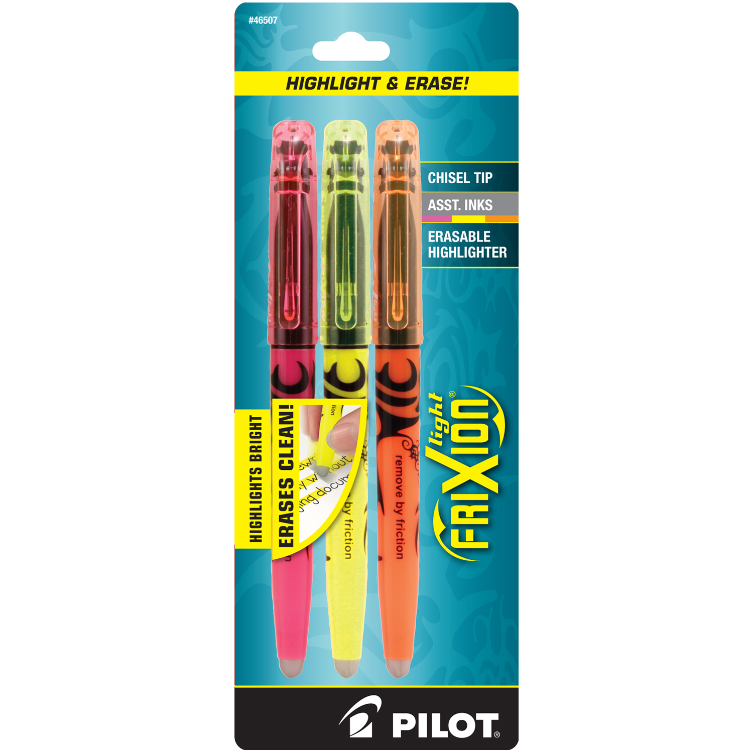 Pilot Frixion Erasable Highlighter 3/Pk Asstd
