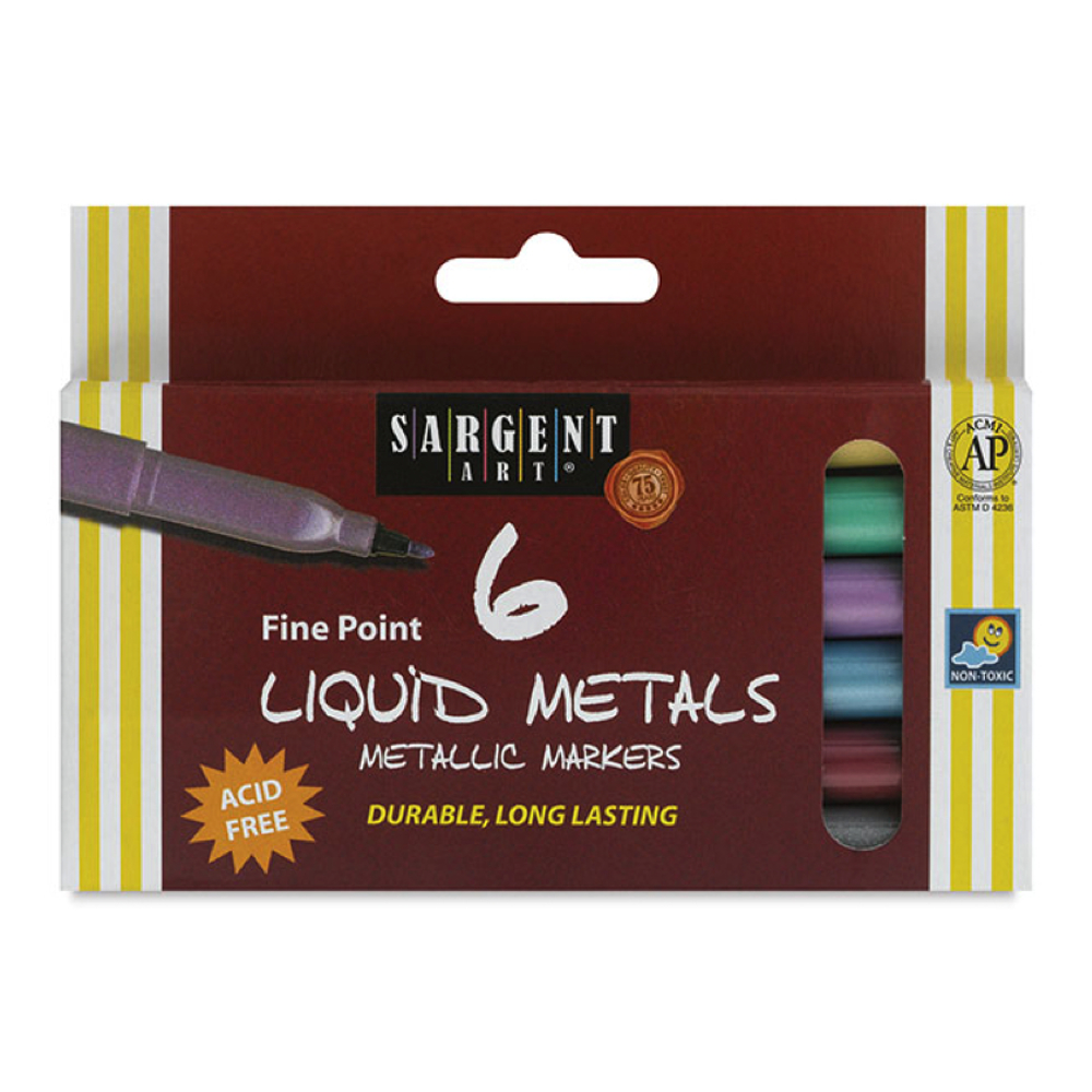Liquid Metal Metallic Marker Fine Pt Set Of 6