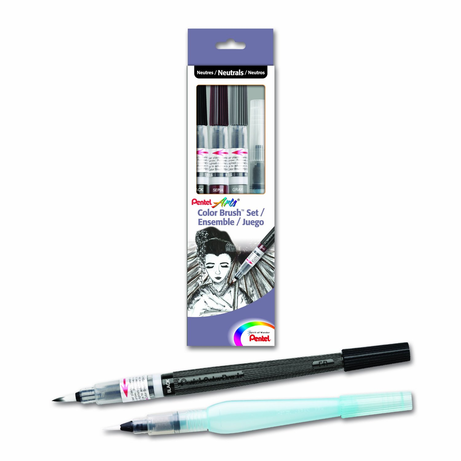 Pentel Color Brush Water-Base Ink Pen Set/3