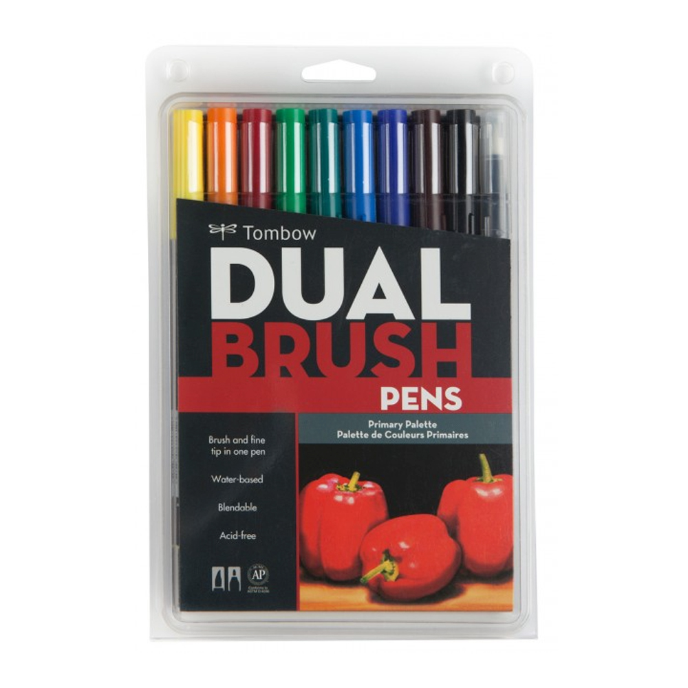 Tombow Dual Brush Pen Set - 10 Primary