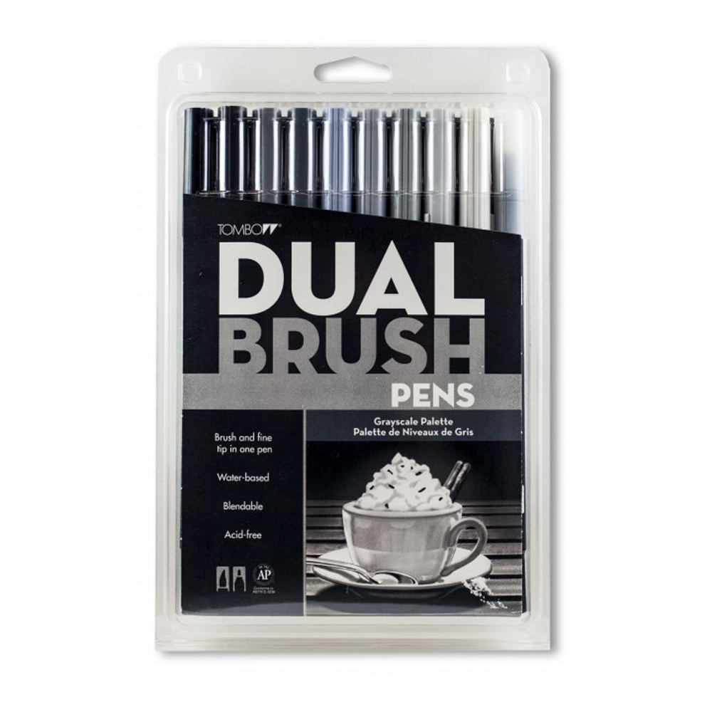 Tombow Dual Brush Pen Set - 10 Grayscale
