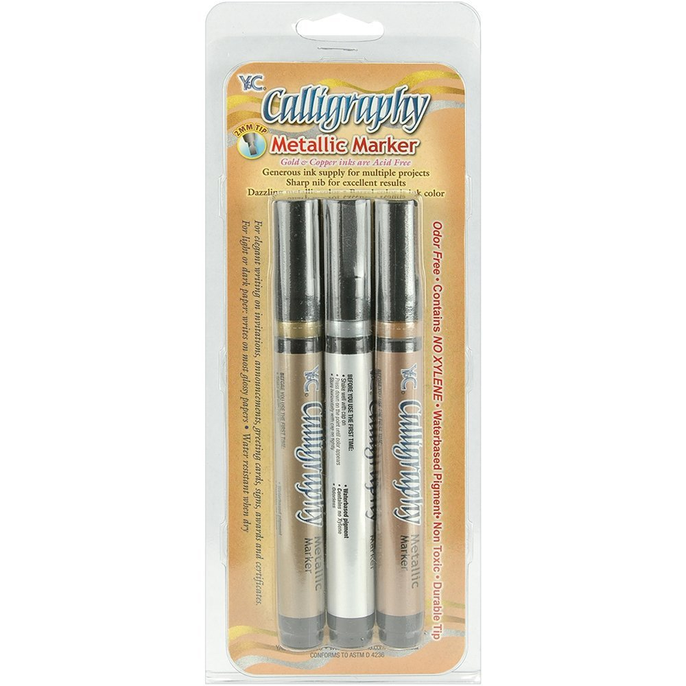 Yasutomo Calligraphy Metallic Marker 3Pc Set