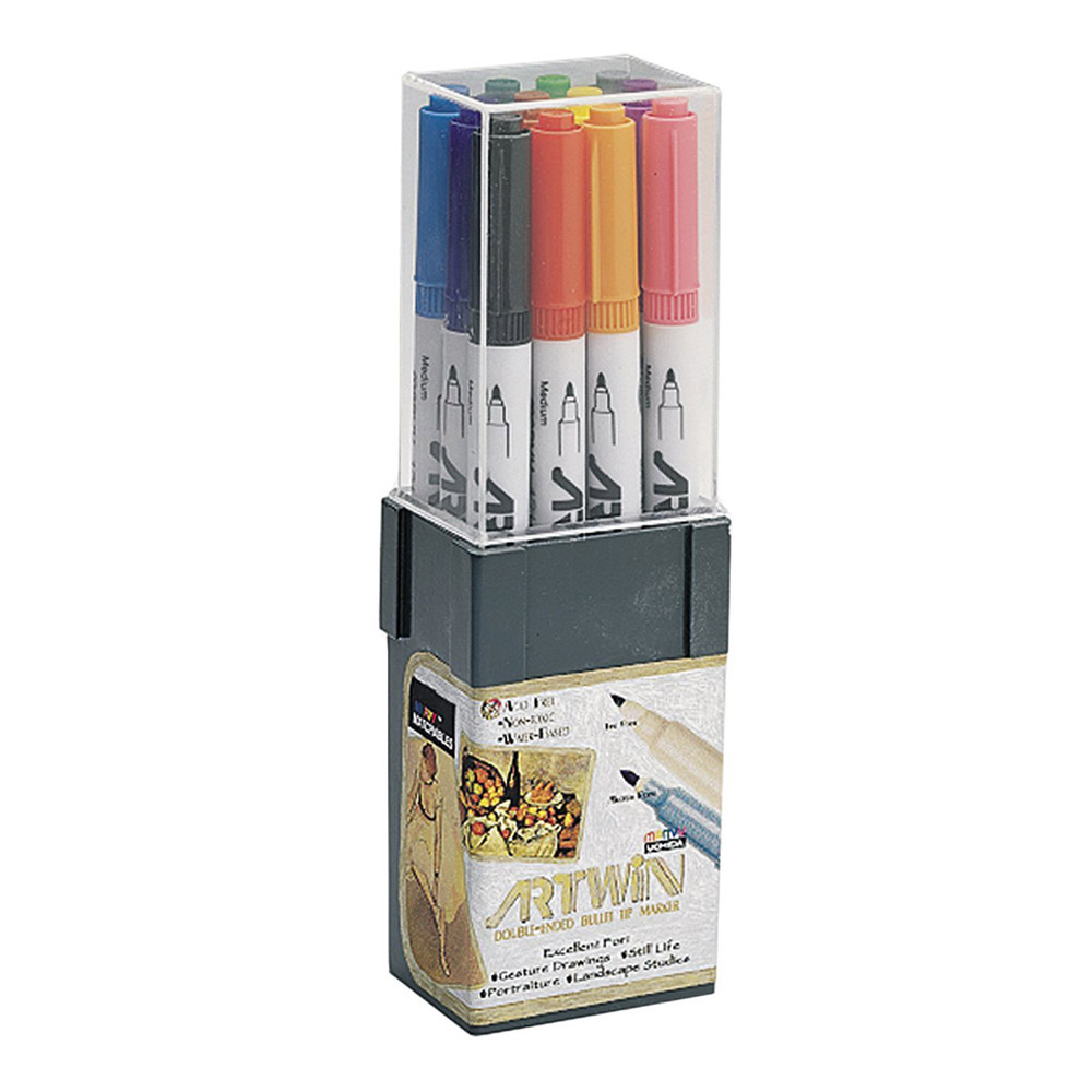 Artwin Double-ended Marker Set Colors 1-12