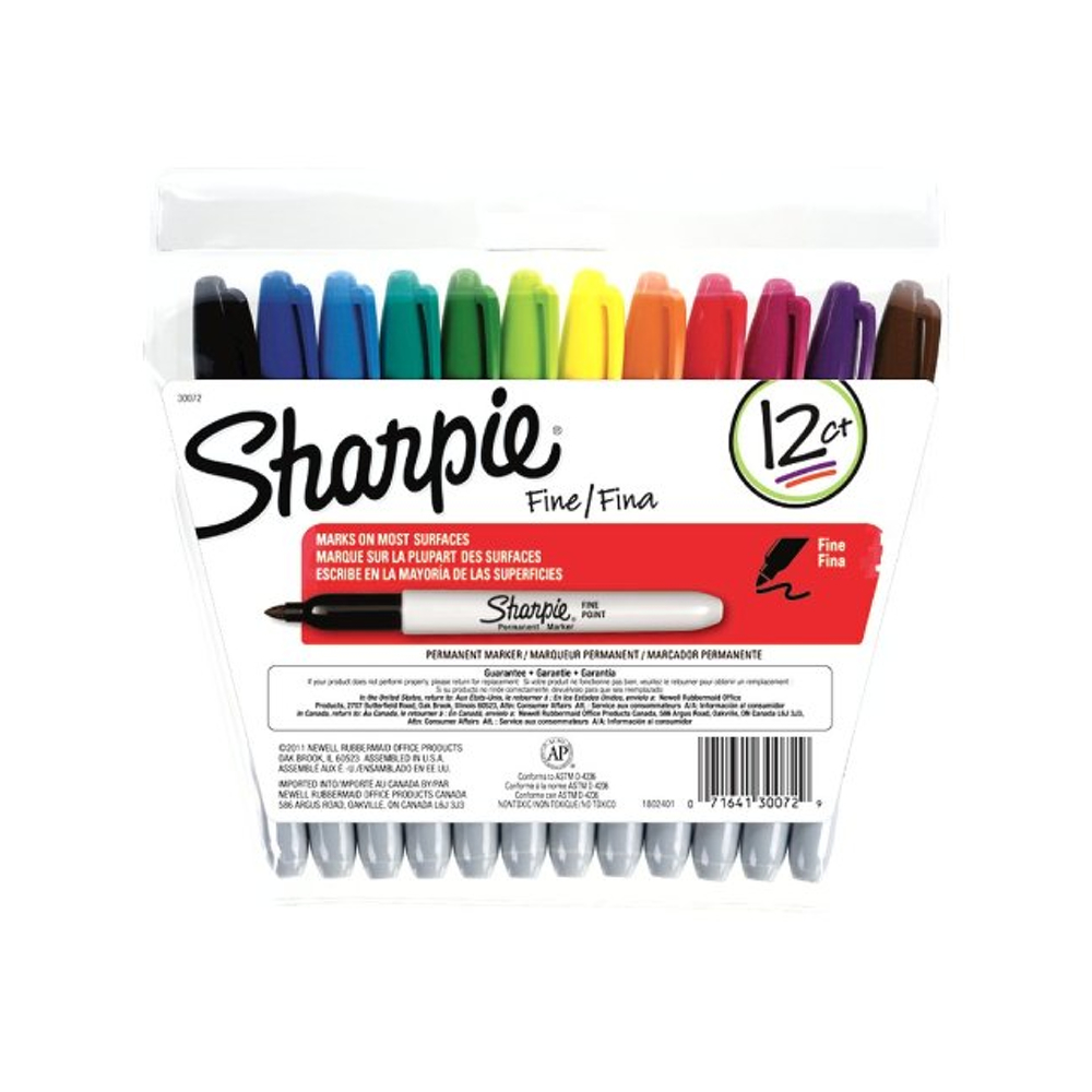 Sharpie Marker 12 Color Fine Point Set