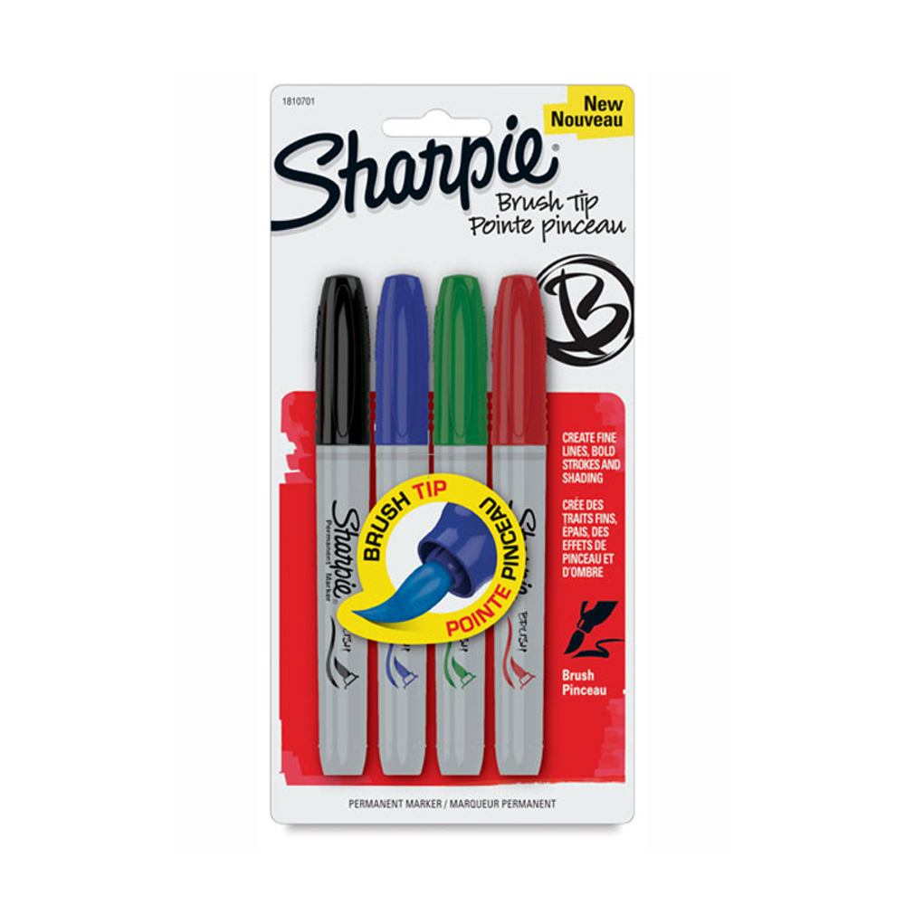 Sharpie Marker 4 Basic Colors Brush-Tip Set
