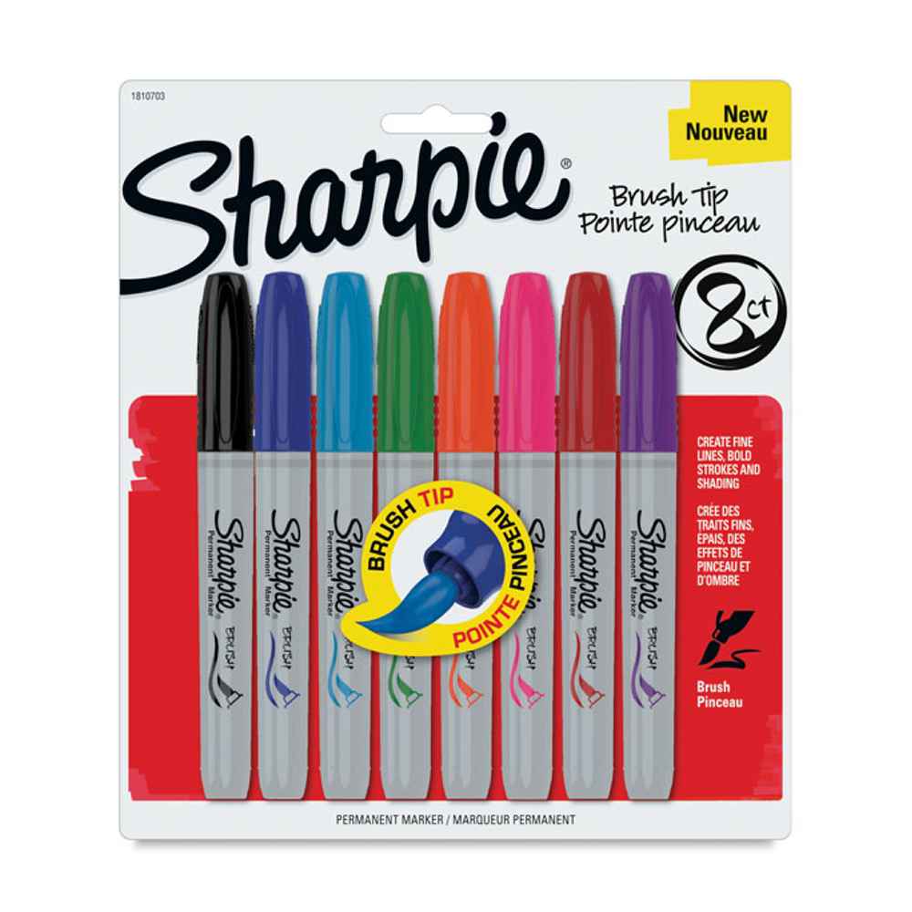 Sharpie Marker 8 Color Brush-Tip Set