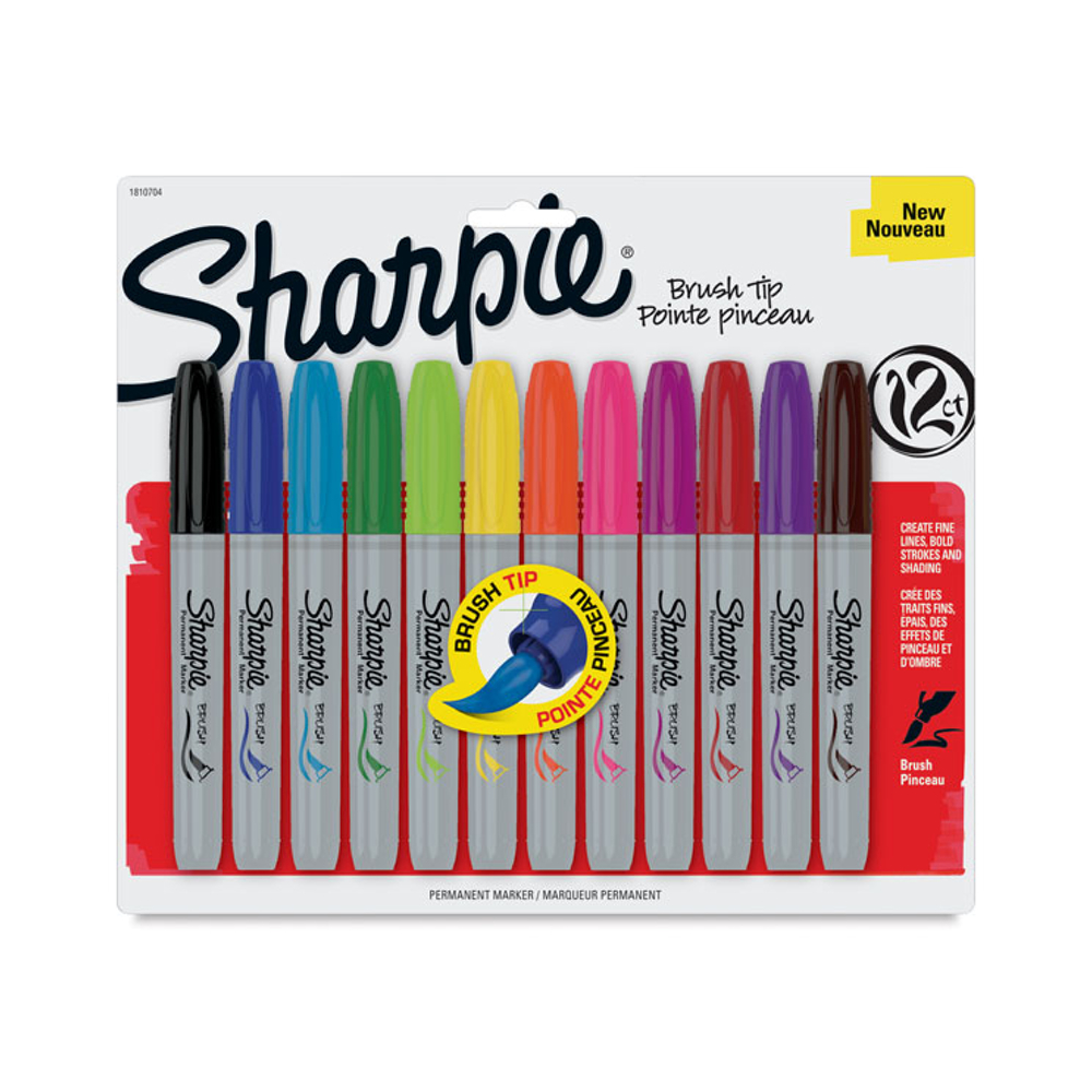 Sharpie Marker 12 Color Brush-Tip Set