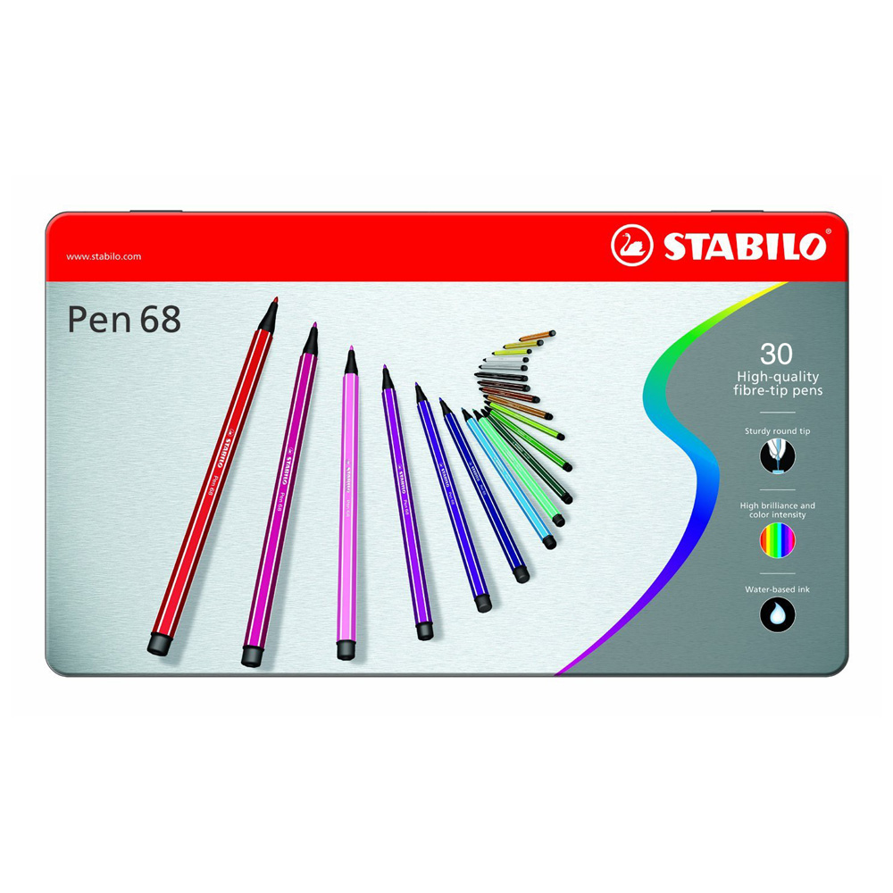 Stabilo Point 68 30-Color Metal Tin Set
