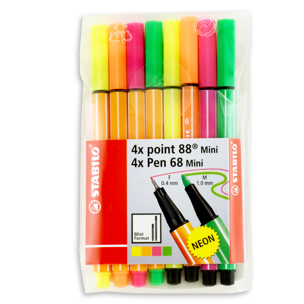 Stabilo Point 68 And 88 Mini Neon Set Of 8