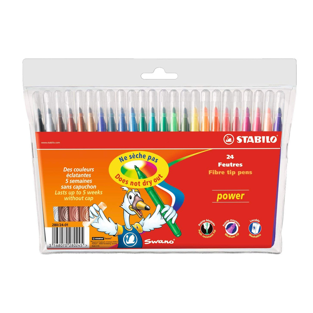 Stabilo Power Washable Felt Pens Set Of 24