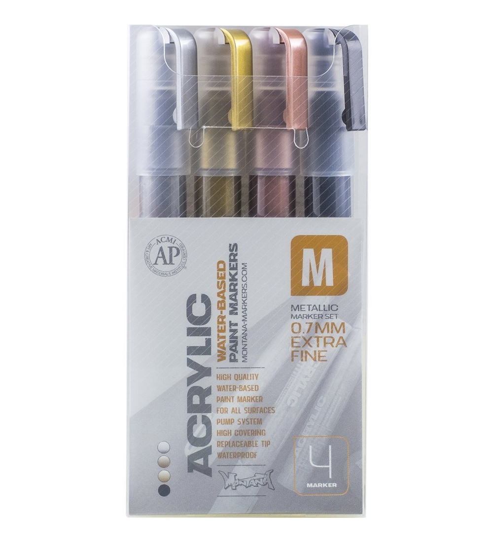 Montana Paint Marker Metallic 4 Set Xfine