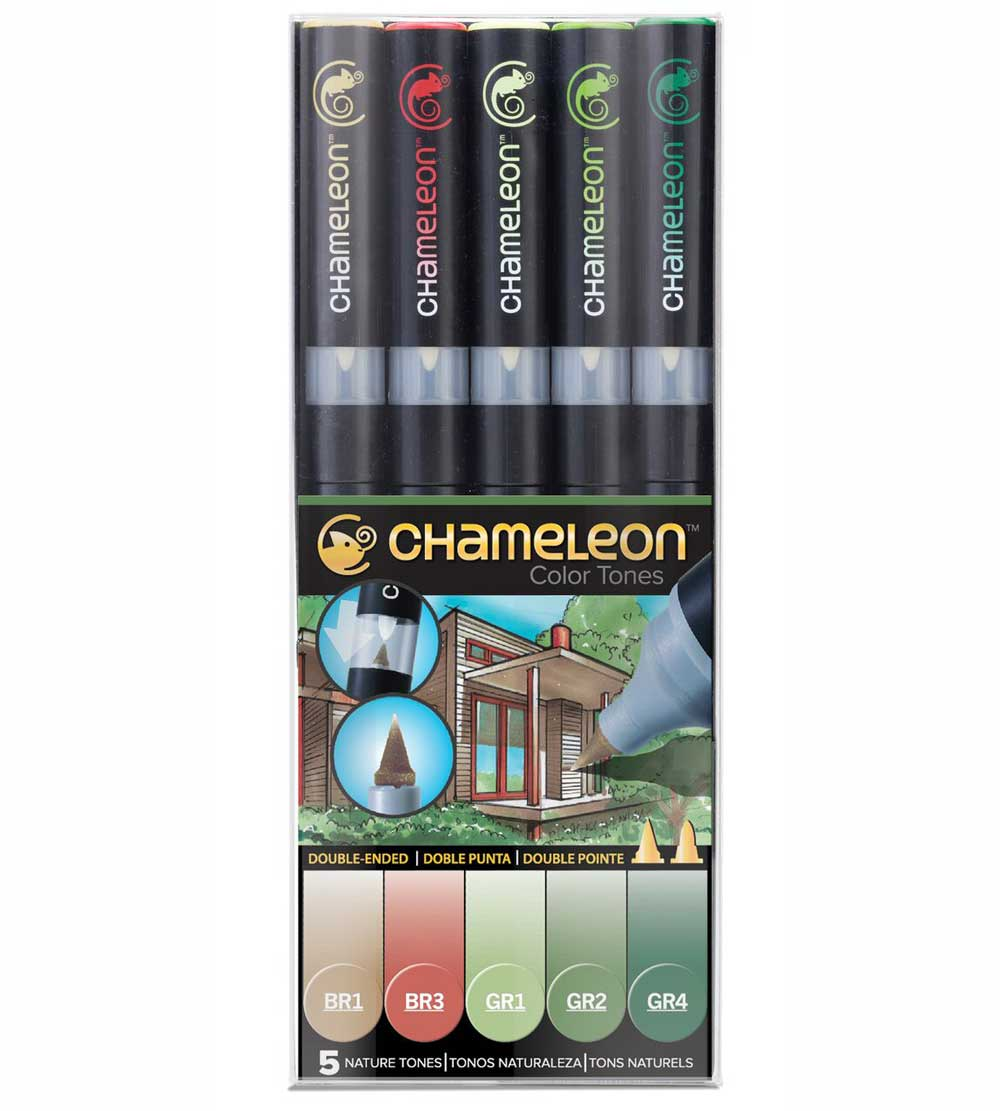 Chameleon Pen Set Of 5 Nature Tones
