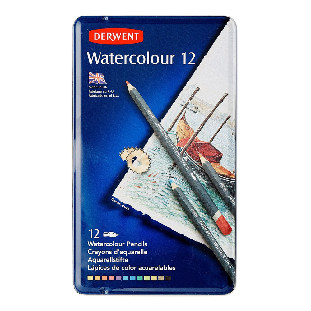 Derwent Watercolor 12 Pencil Metal Tin Set