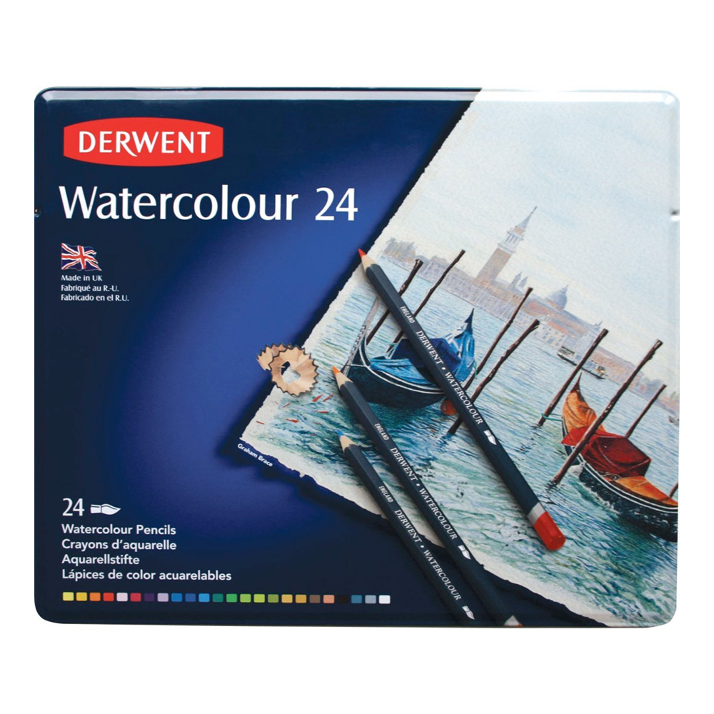 Derwent Watercolor 24 Pencil Metal Tin Set