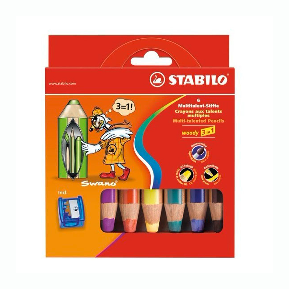Stabilo Woody Crayons Set Of 6 W/Sharpener