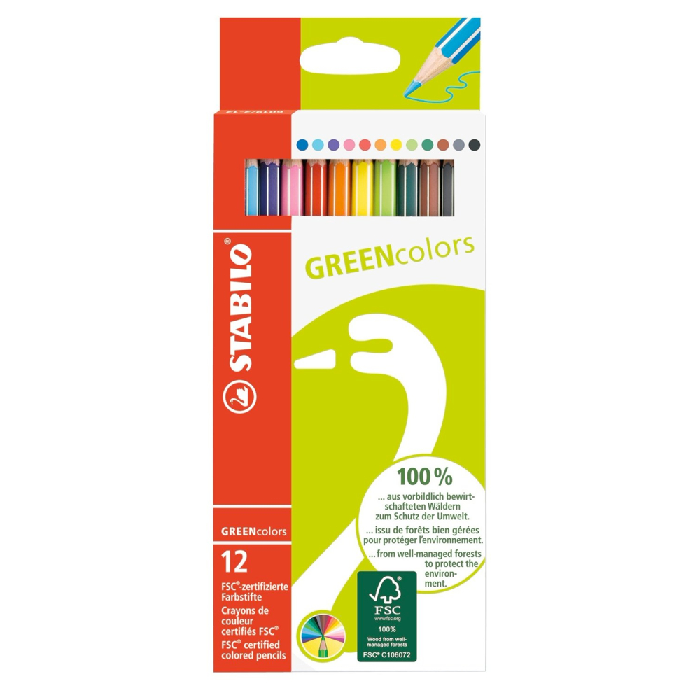 Stabilo Green Colored Pencil Set Of 12