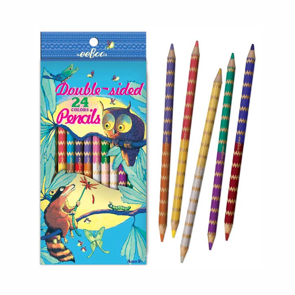 Eeboo 12 Double Sided Pencils: Raccoon/Owl