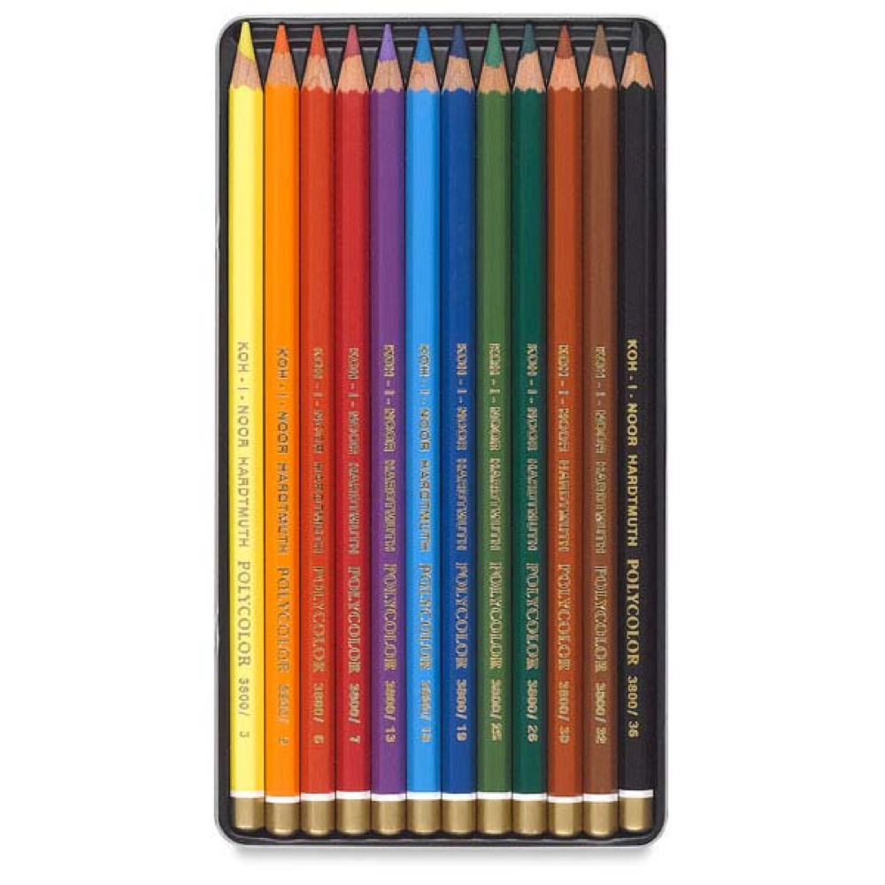 Koh-I-Noor Polycolor 12 Pencil Tin Set