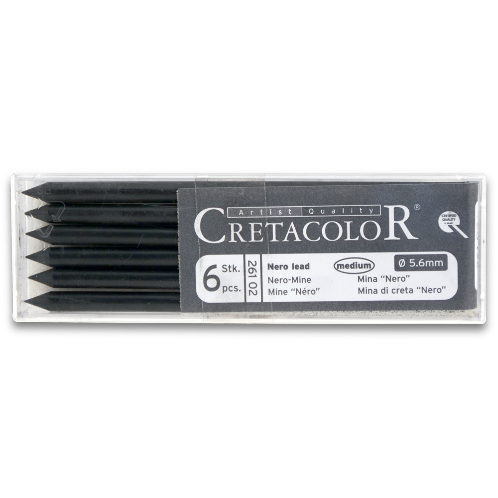 Cretacolor Nero Black Lead Medium 6/Pack