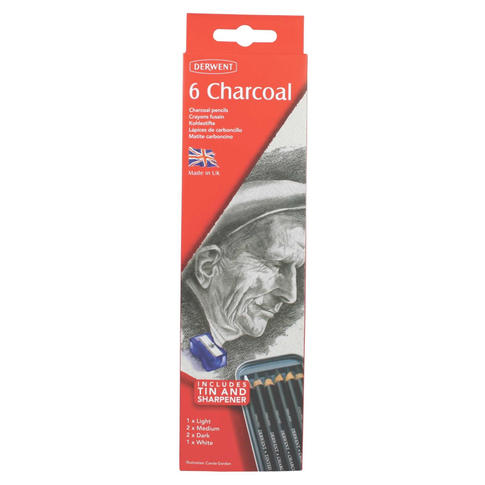 Derwent 6 Charcoal Pencil Tin Set