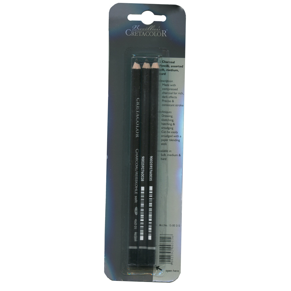 Cretacolor 3 Charcoal Pencil Set