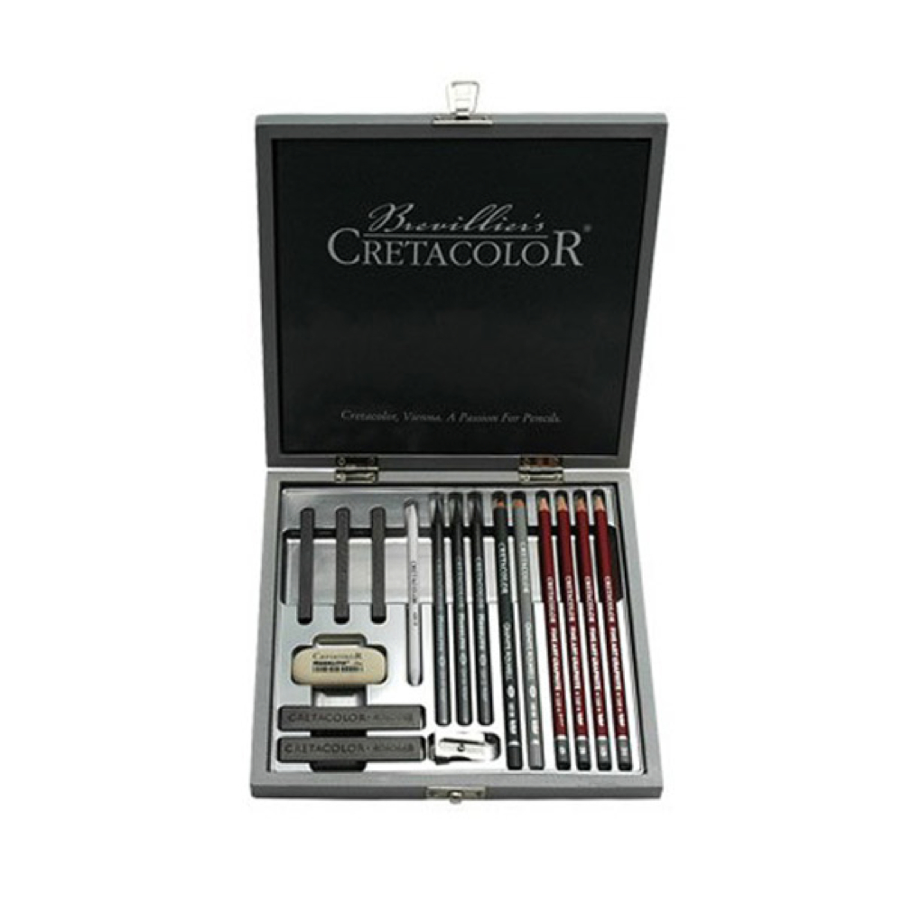 Cretacolor Silver Wood Graphite Box Draw Set