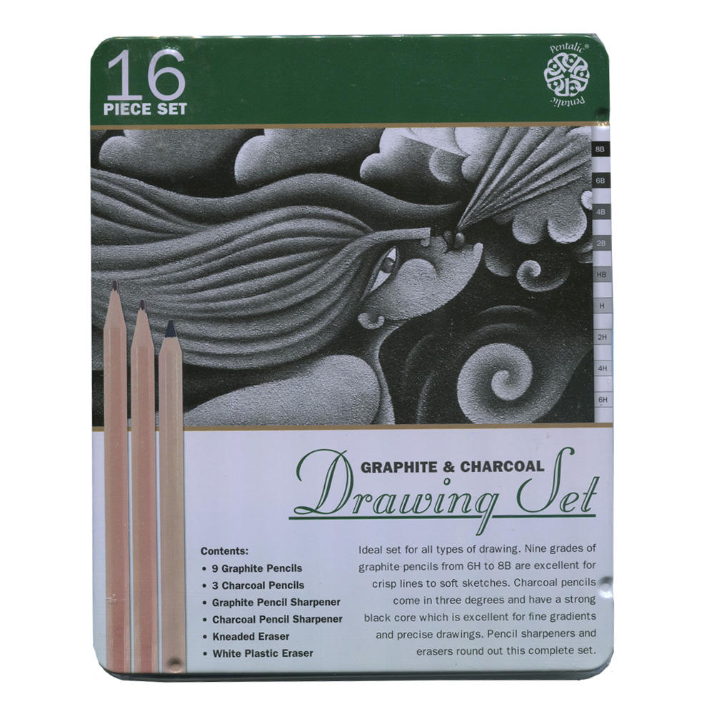 Pentalic Graphite And Charcoal Drawing Set